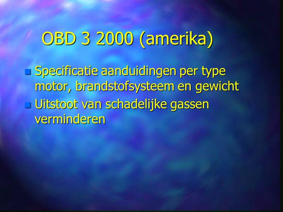 OBD 3 2000 (amerika) Specificatie aanduidingen per type motor, brandstofsysteem en gewicht.