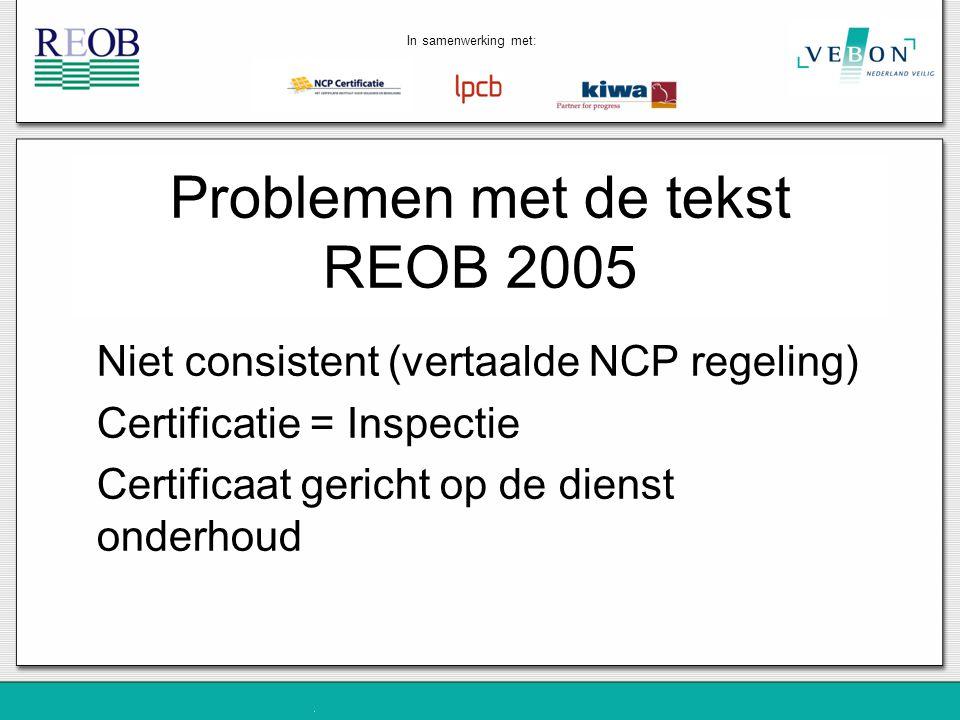 Problemen met de tekst REOB 2005
