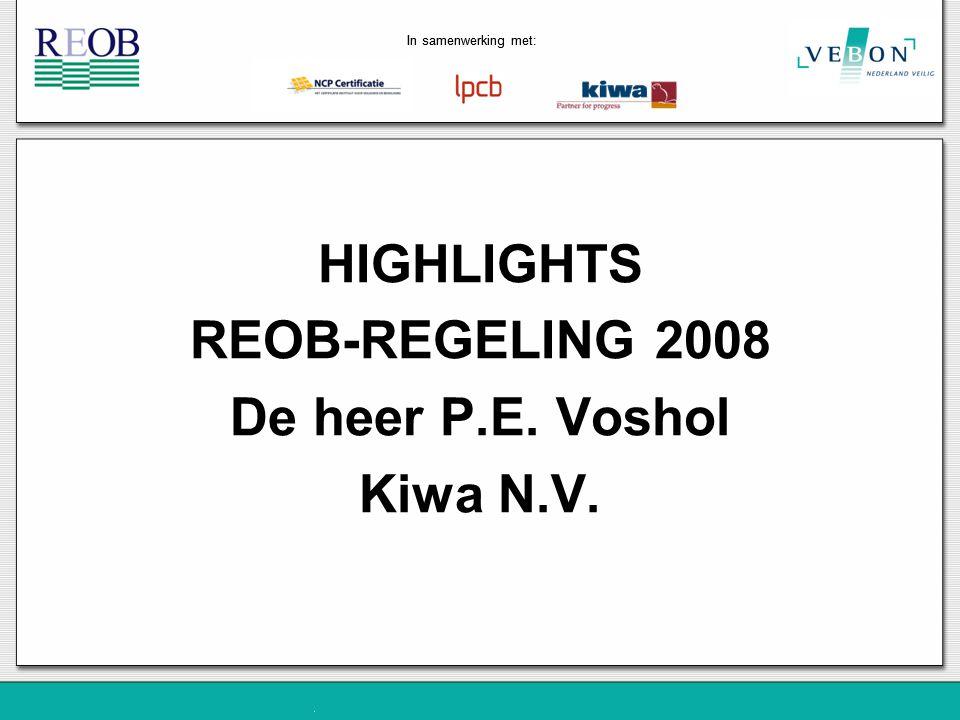 HIGHLIGHTS REOB-REGELING 2008 De heer P.E. Voshol Kiwa N.V.