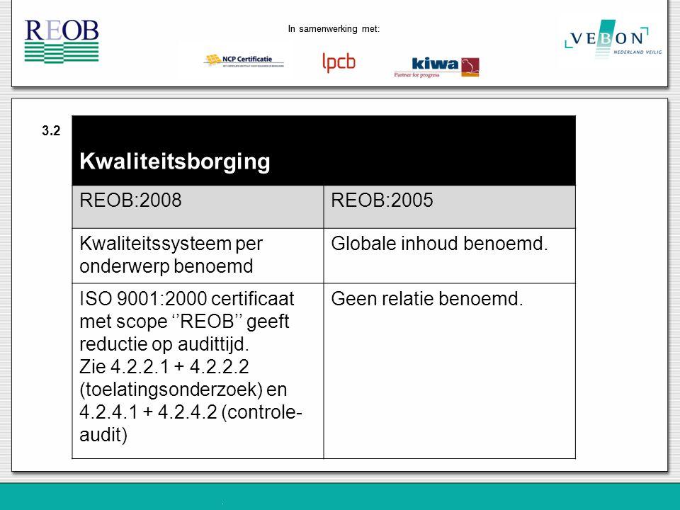 Kwaliteitsborging REOB:2008 REOB:2005