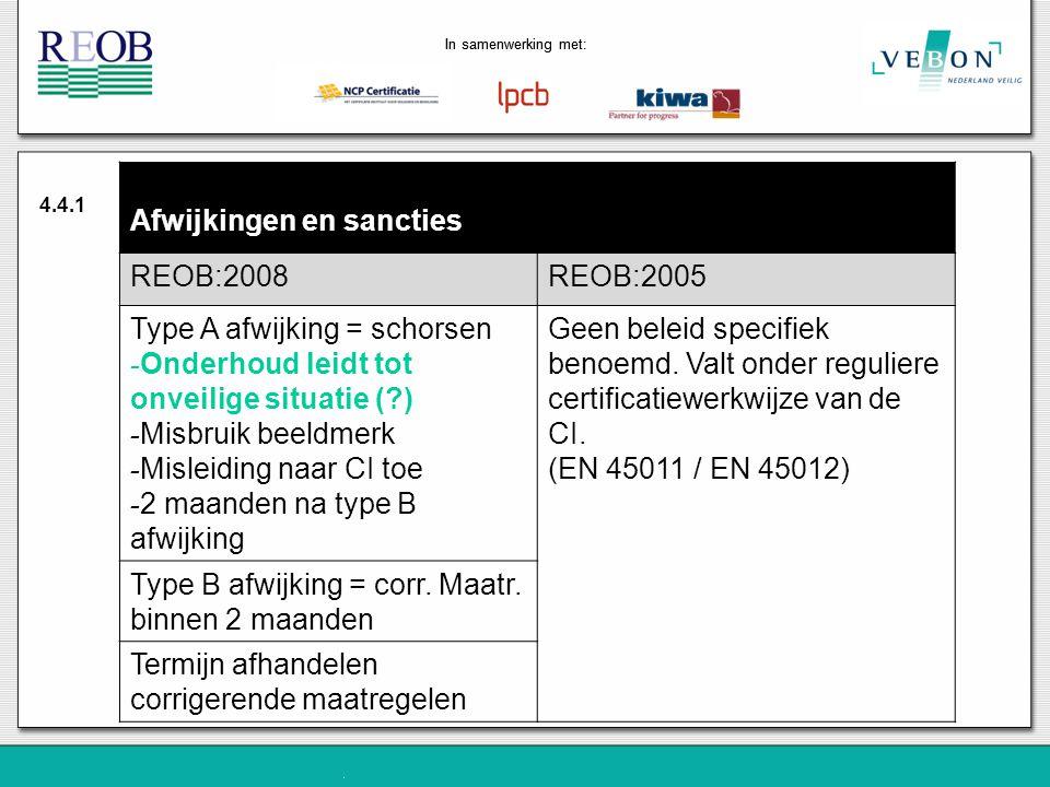 Afwijkingen en sancties REOB:2008 REOB:2005