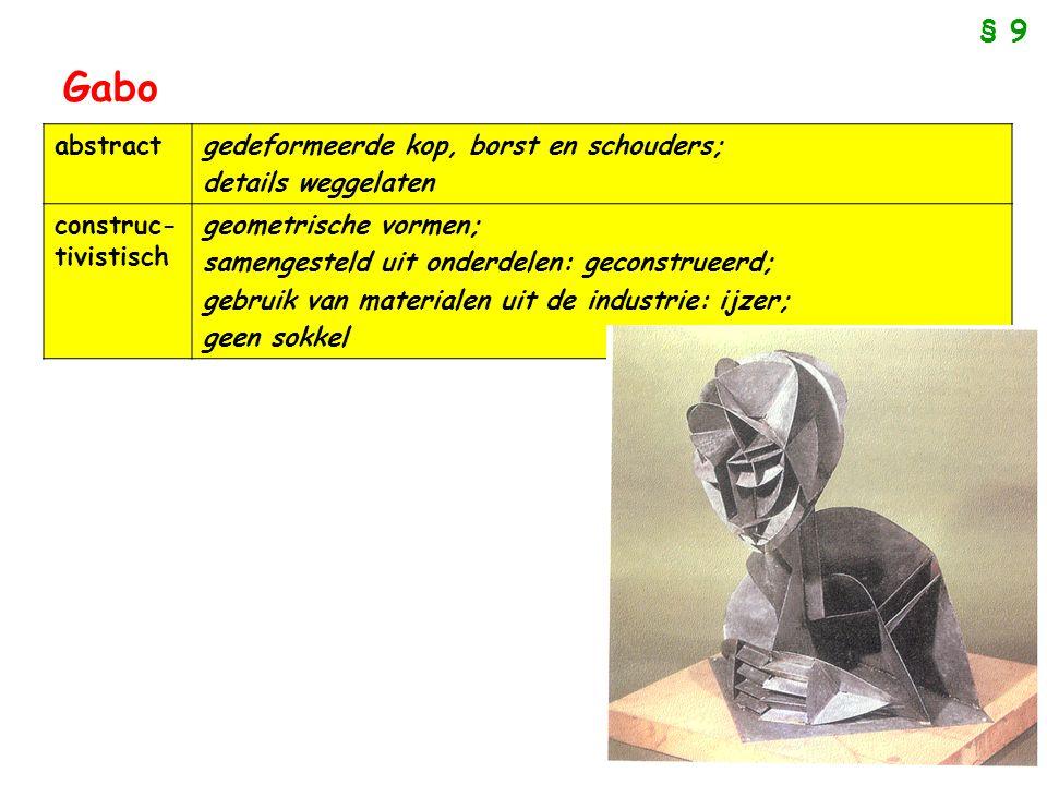 Gabo § 9 abstract gedeformeerde kop, borst en schouders;