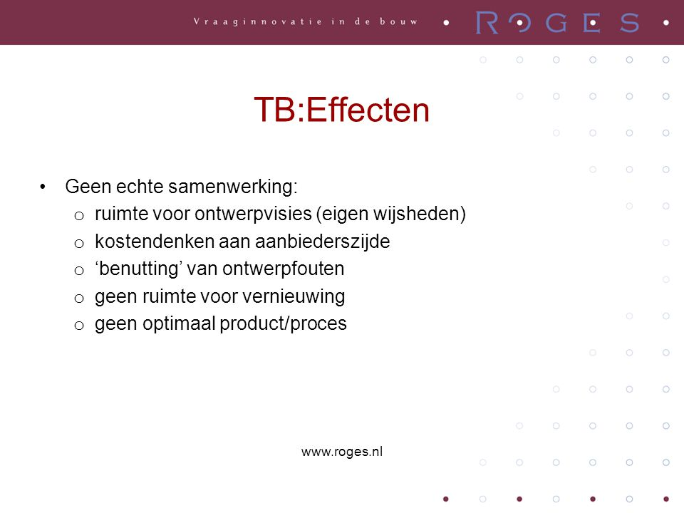 TB:Effecten Geen echte samenwerking: