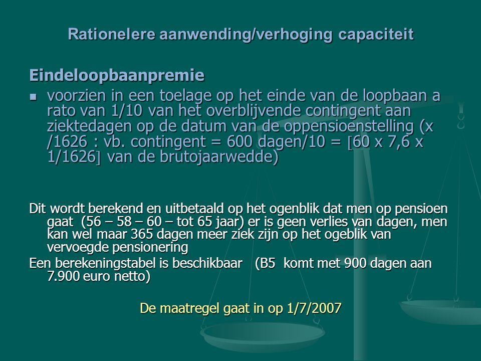 Rationelere aanwending/verhoging capaciteit