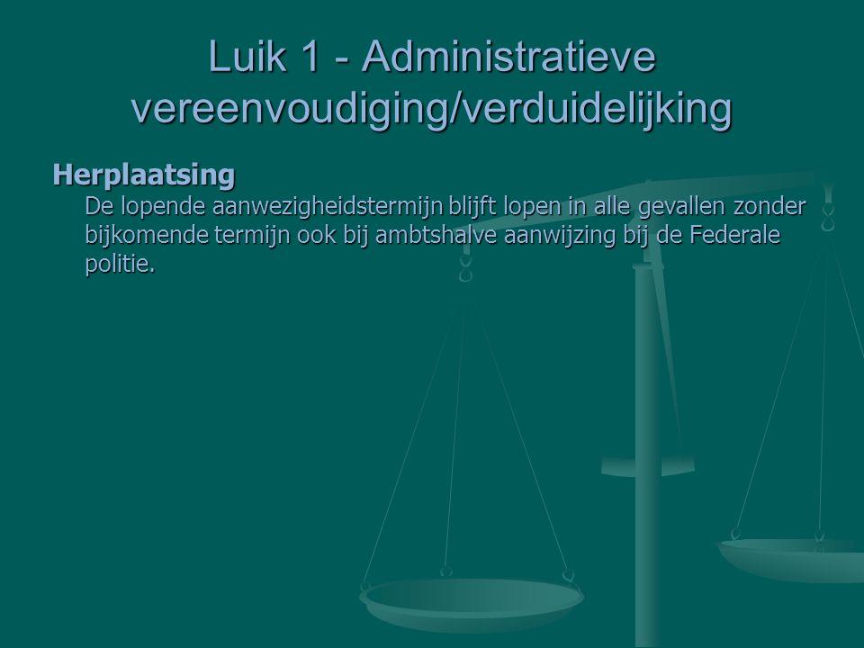 Luik 1 - Administratieve vereenvoudiging/verduidelijking