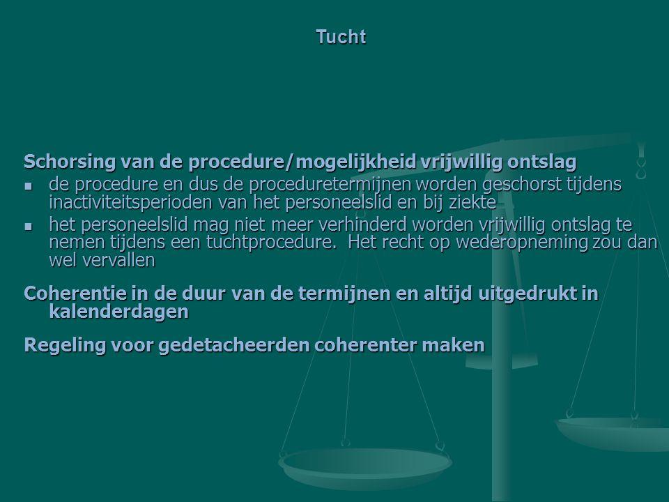 Tucht Schorsing van de procedure/mogelijkheid vrijwillig ontslag.