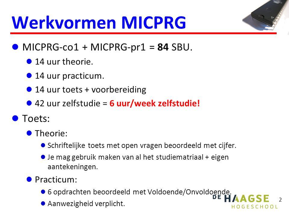 Werkvormen MICPRG MICPRG-co1 + MICPRG-pr1 = 84 SBU. Toets: