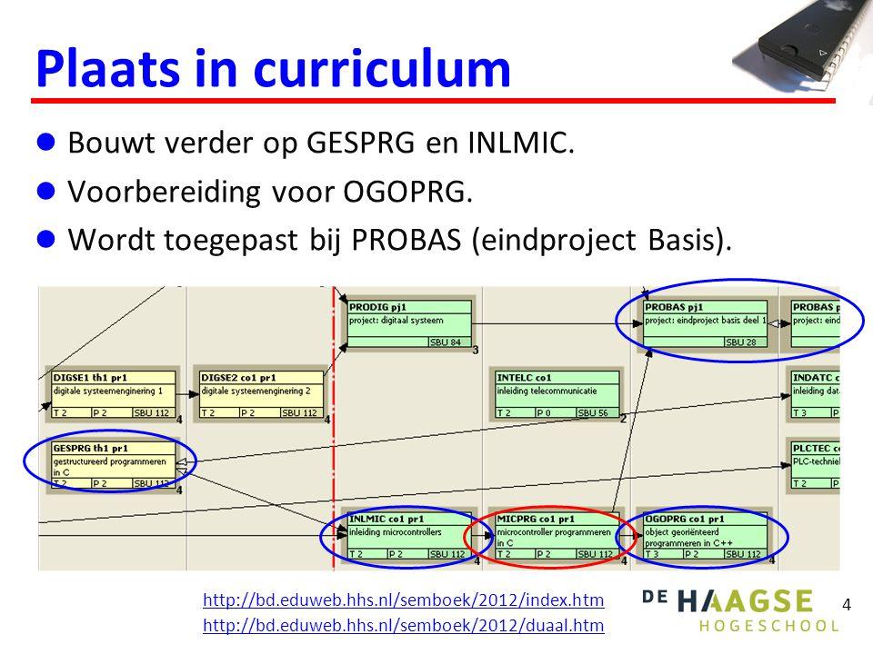 Plaats in curriculum Bouwt verder op GESPRG en INLMIC.