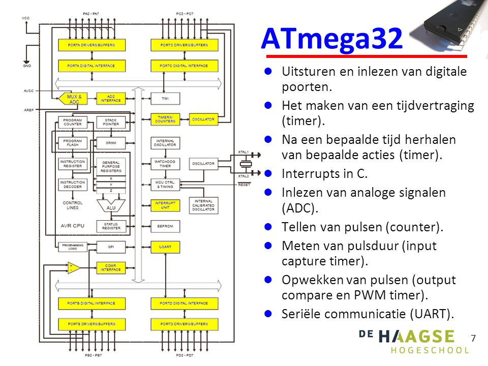 ATmega32 Uitsturen en inlezen van digitale poorten.