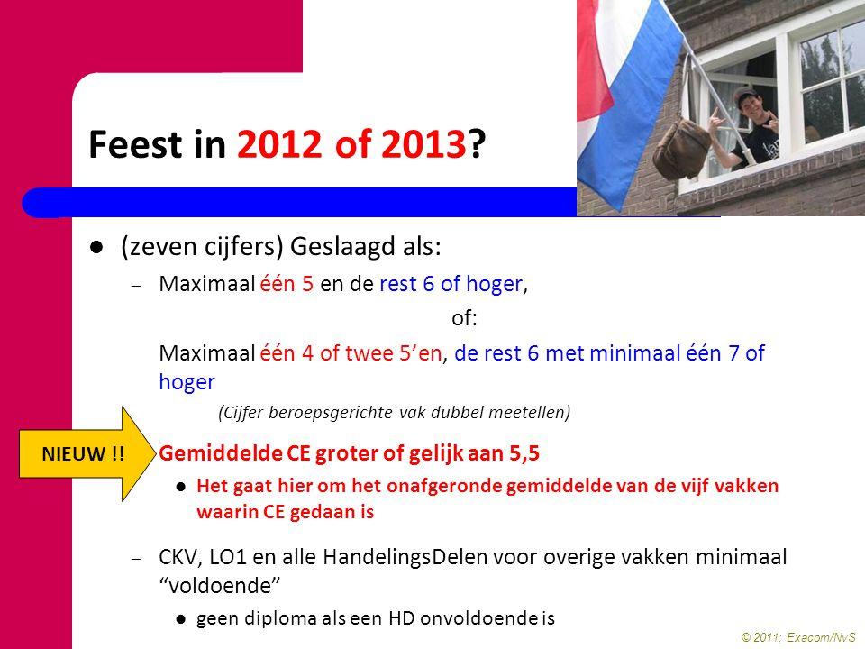 Feest in 2012 of 2013 (zeven cijfers) Geslaagd als: