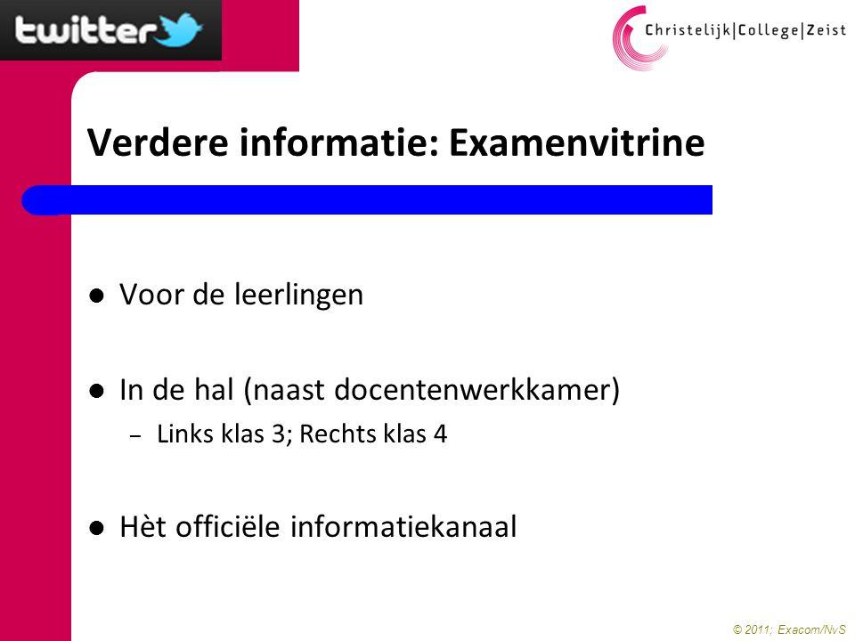 Verdere informatie: Examenvitrine