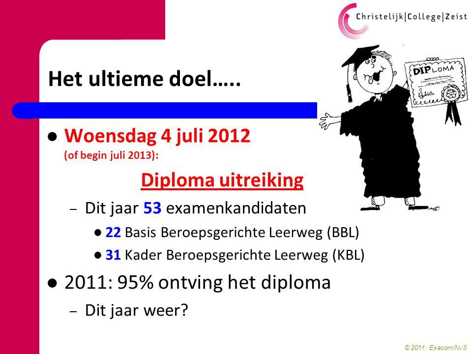 Het ultieme doel….. Woensdag 4 juli 2012 (of begin juli 2013):
