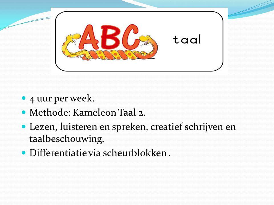 4 uur per week. Methode: Kameleon Taal 2. Lezen, luisteren en spreken, creatief schrijven en taalbeschouwing.