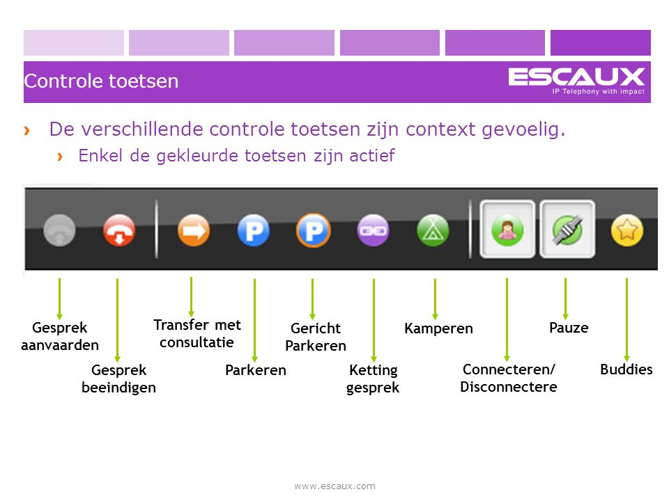 De verschillende controle toetsen zijn context gevoelig.