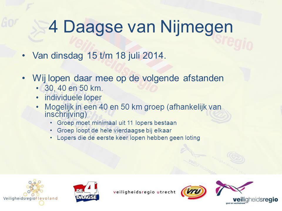 4 Daagse van Nijmegen Van dinsdag 15 t/m 18 juli 2014.