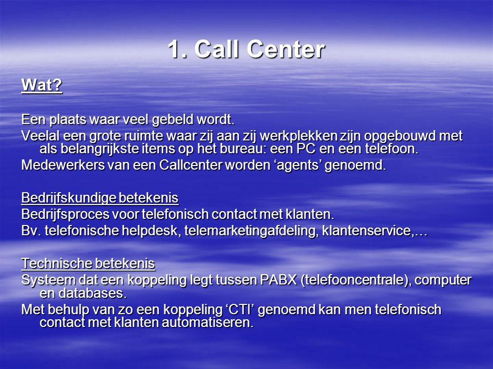 1. Call Center Wat Een plaats waar veel gebeld wordt.