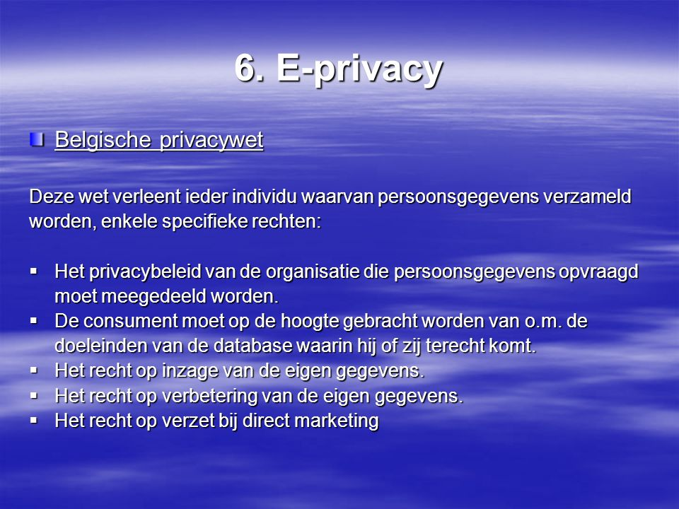 6. E-privacy Belgische privacywet