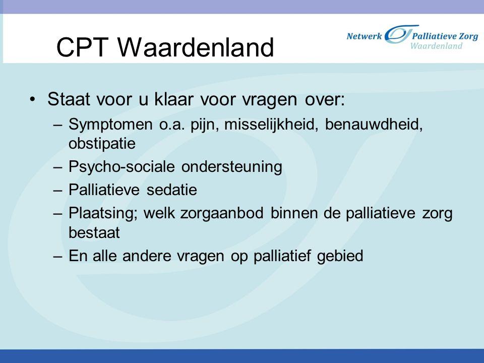 CPT Waardenland Staat voor u klaar voor vragen over: