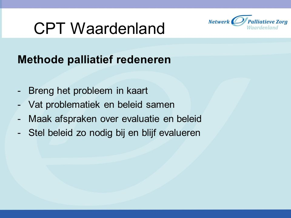 CPT Waardenland Methode palliatief redeneren