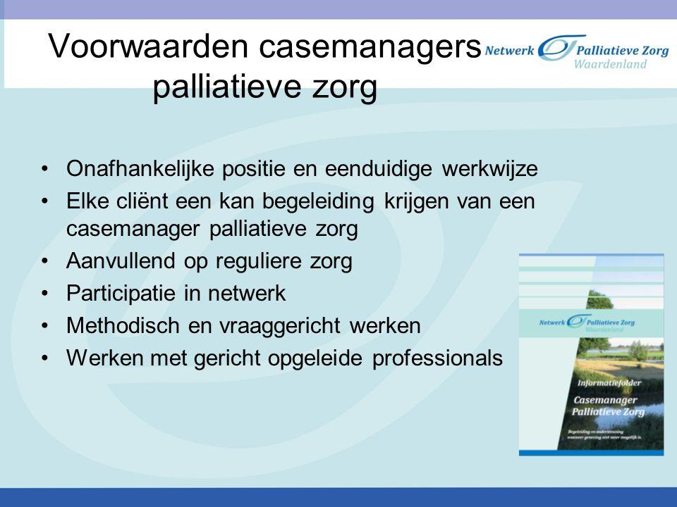 Voorwaarden casemanagers palliatieve zorg