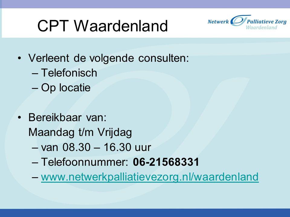 CPT Waardenland Verleent de volgende consulten: Telefonisch Op locatie