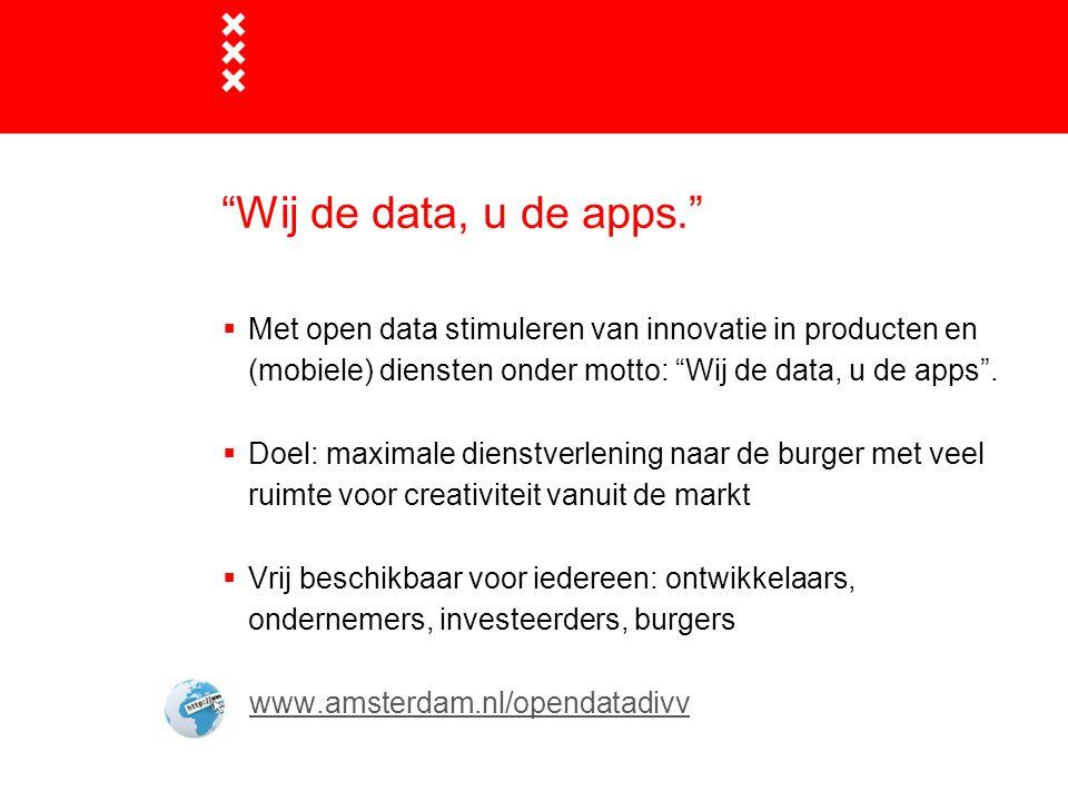 Wij de data, u de apps. www.amsterdam.nl/opendatadivv