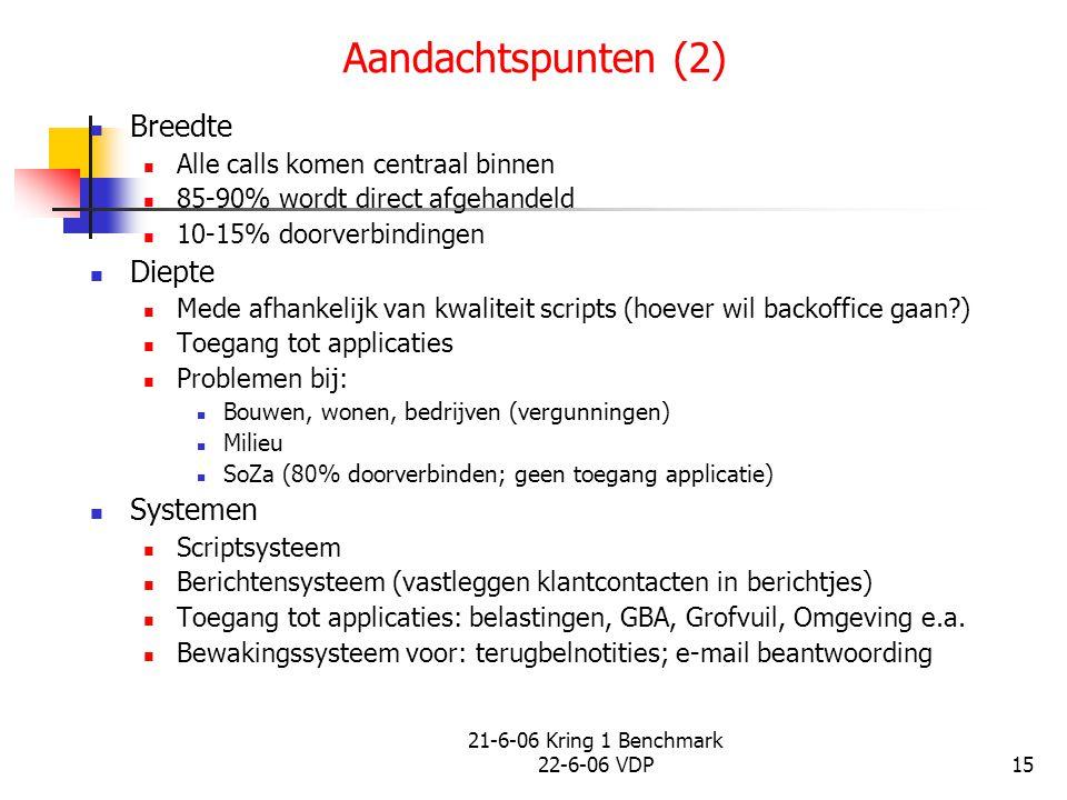 21-6-06 Kring 1 Benchmark 22-6-06 VDP