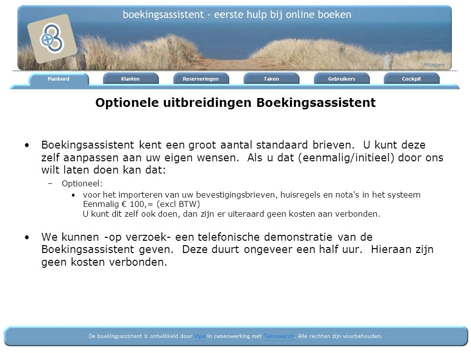Optionele uitbreidingen Boekingsassistent