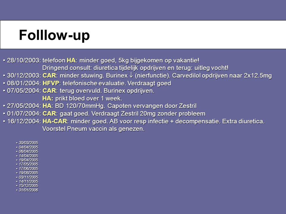 Folllow-up 28/10/2003: telefoon HA: minder goed, 5kg bijgekomen op vakantie! Dringend consult: diuretica tijdelijk opdrijven en terug: uitleg vocht!