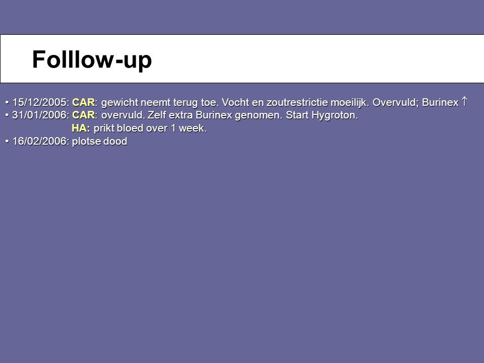 Folllow-up 15/12/2005: CAR: gewicht neemt terug toe. Vocht en zoutrestrictie moeilijk. Overvuld; Burinex 
