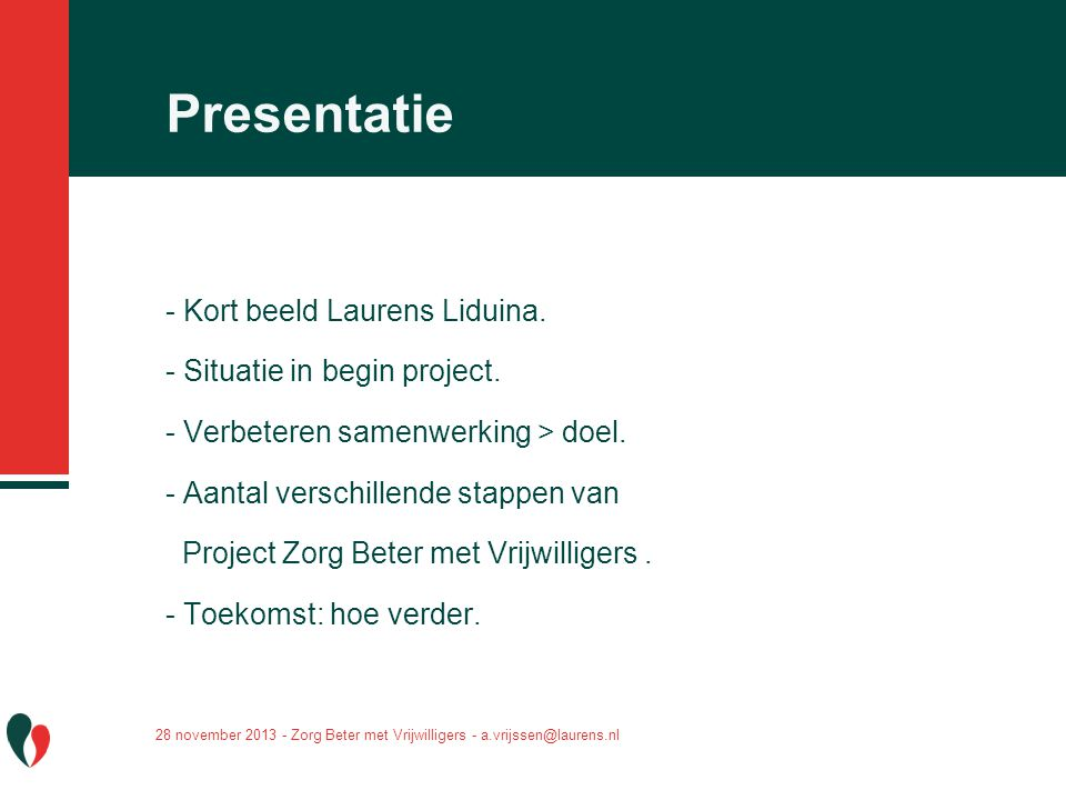 Presentatie - Kort beeld Laurens Liduina. - Situatie in begin project.