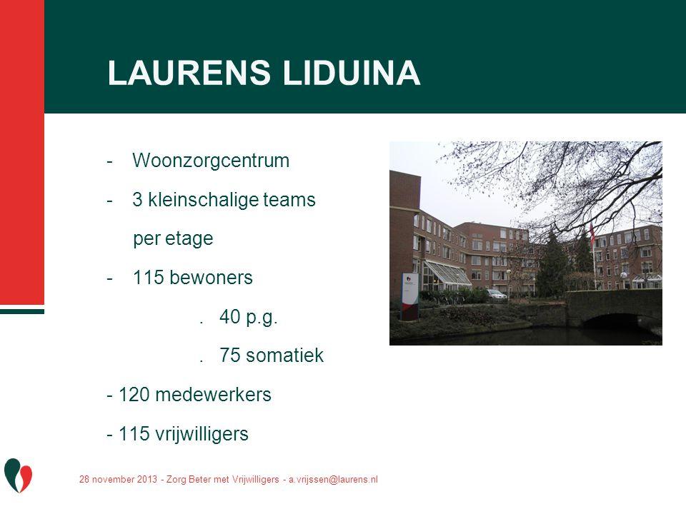 LAURENS LIDUINA Woonzorgcentrum 3 kleinschalige teams per etage