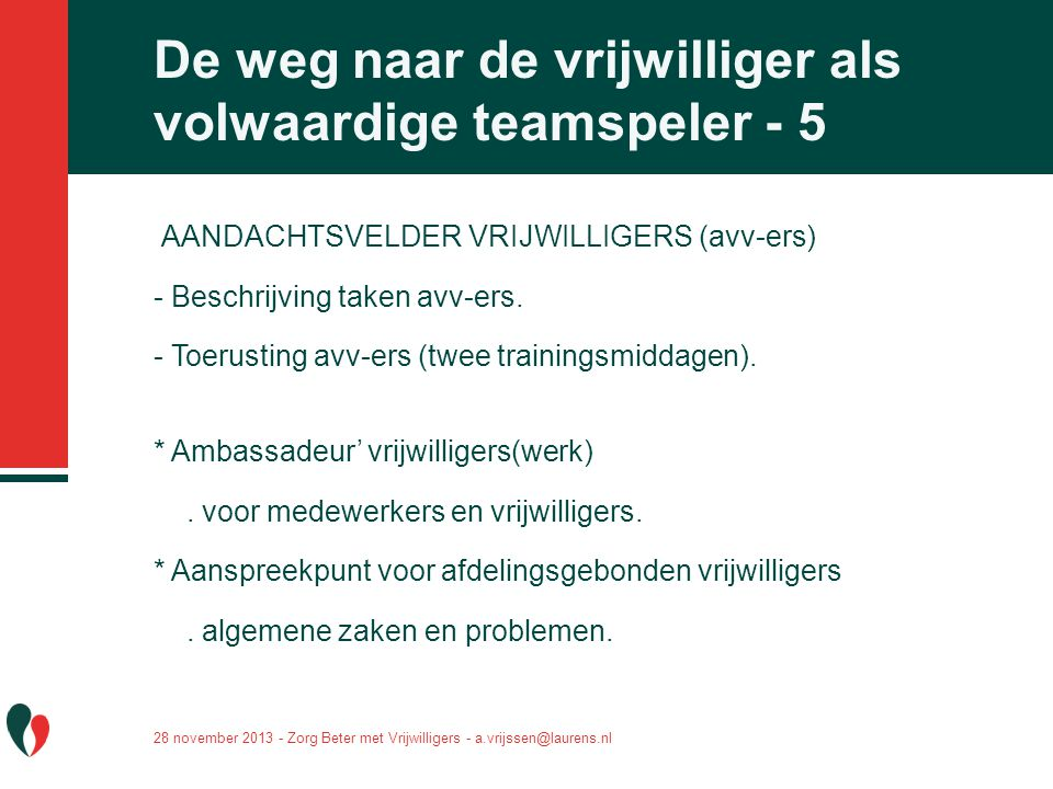 De weg naar de vrijwilliger als volwaardige teamspeler - 5