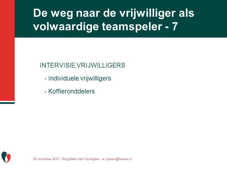De weg naar de vrijwilliger als volwaardige teamspeler - 7