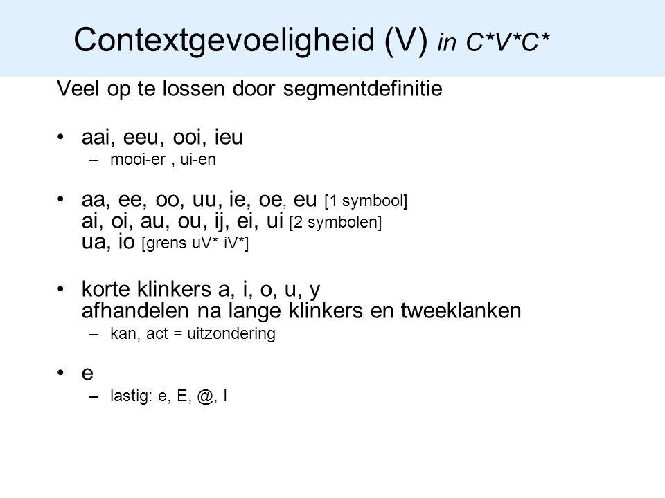 Contextgevoeligheid (V) in C*V*C*