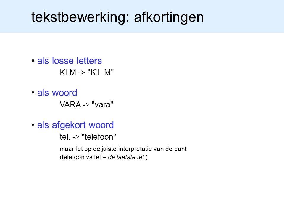 tekstbewerking: afkortingen