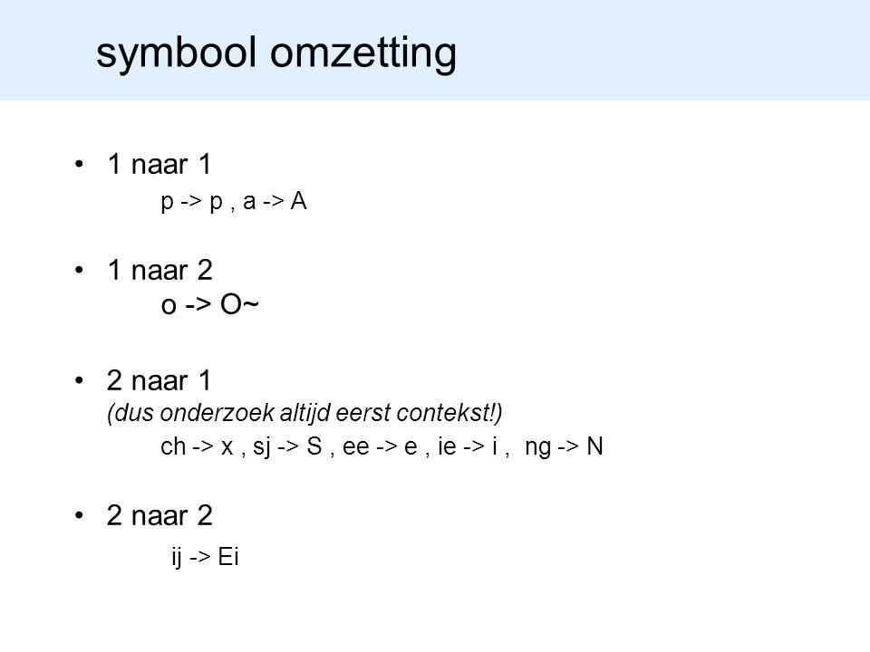 symbool omzetting 1 naar 1 p -> p , a -> A 1 naar 2 o -> O~