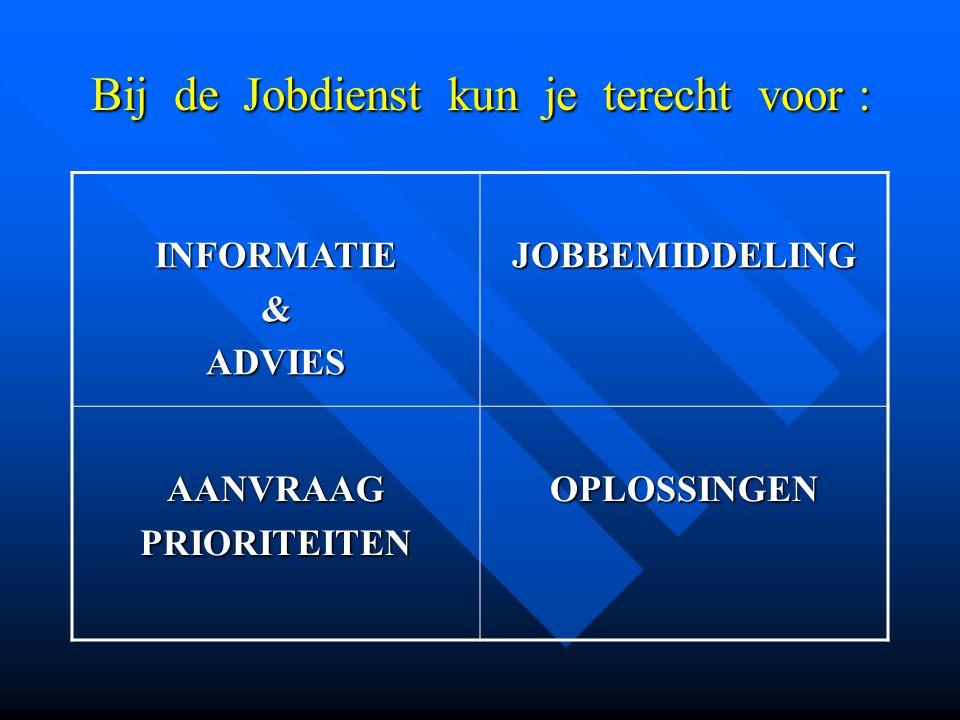 Bij de Jobdienst kun je terecht voor :