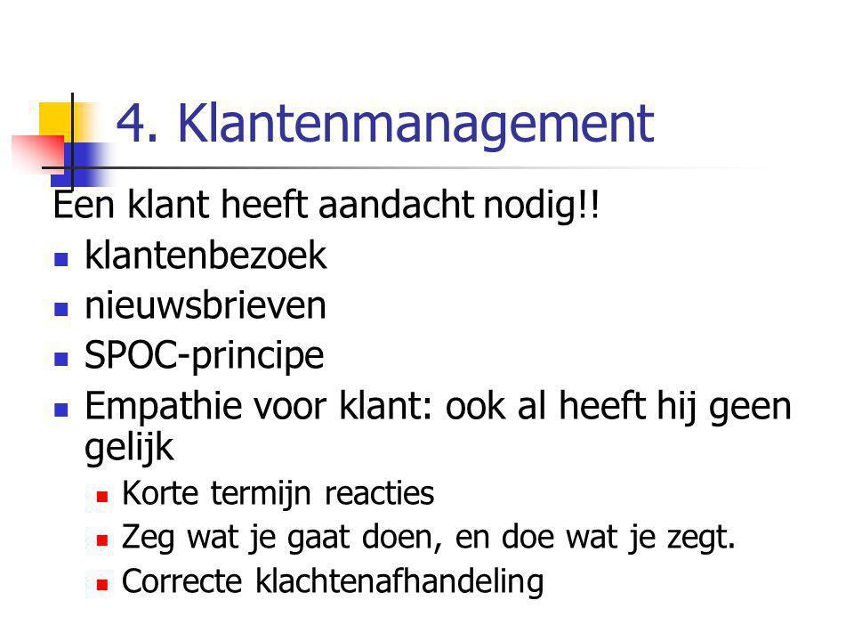 4. Klantenmanagement Een klant heeft aandacht nodig!! klantenbezoek