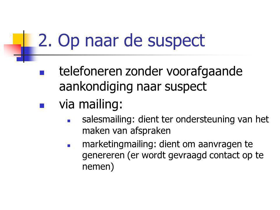2. Op naar de suspect telefoneren zonder voorafgaande aankondiging naar suspect. via mailing: