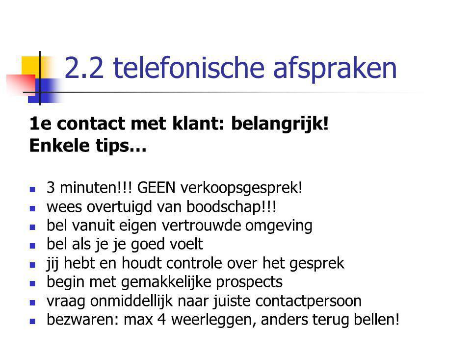 2.2 telefonische afspraken