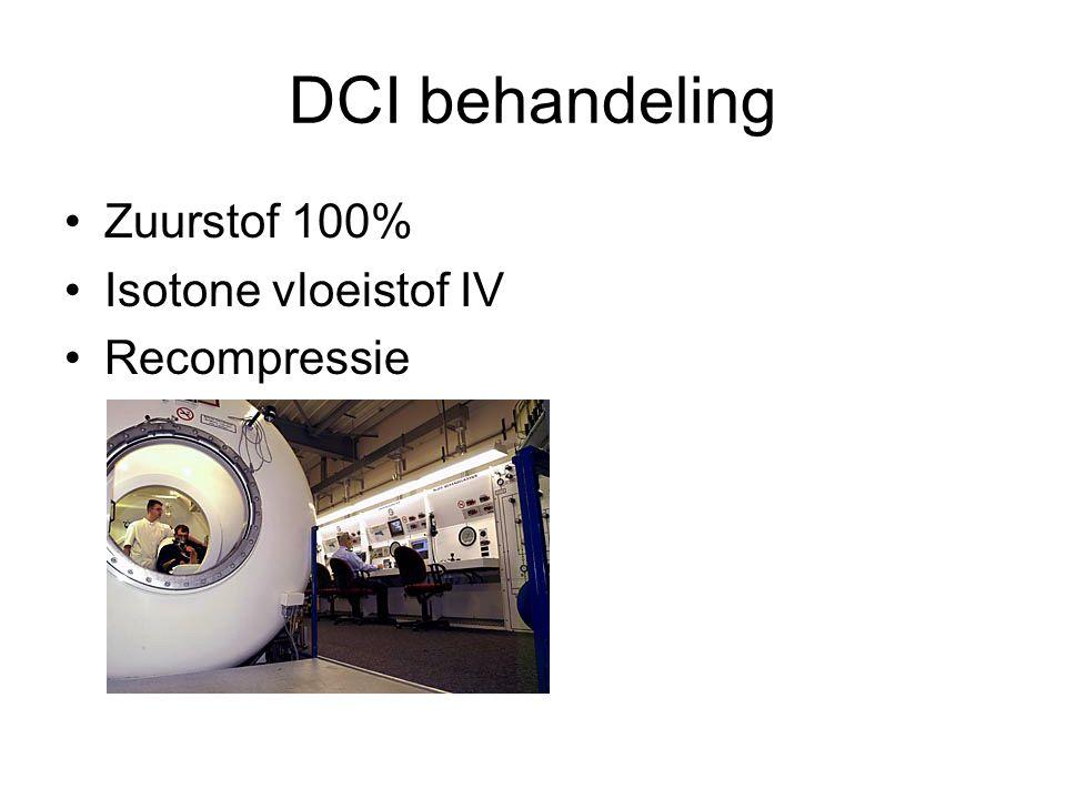 DCI behandeling Zuurstof 100% Isotone vloeistof IV Recompressie