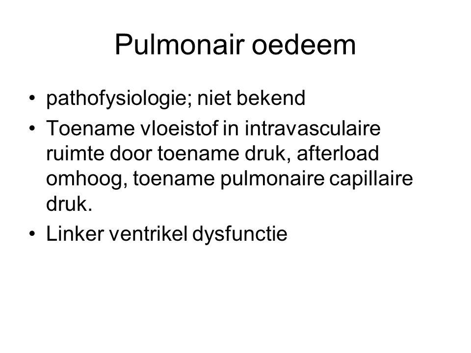 Pulmonair oedeem pathofysiologie; niet bekend