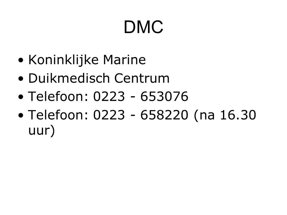 DMC Koninklijke Marine Duikmedisch Centrum Telefoon: 0223 - 653076