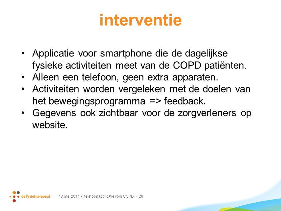 interventie Applicatie voor smartphone die de dagelijkse fysieke activiteiten meet van de COPD patiënten.