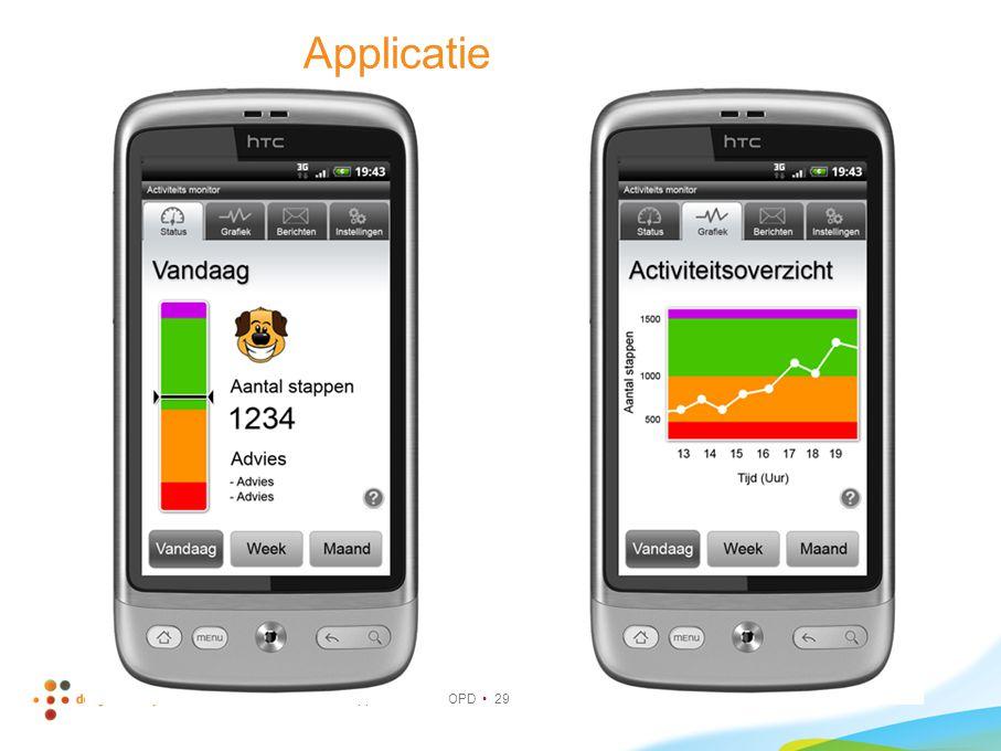 Applicatie Bewegingsdoel bestaat uit verschillende delen (hoeveelheid en intensiteit): Hoeveel stappen per dag.