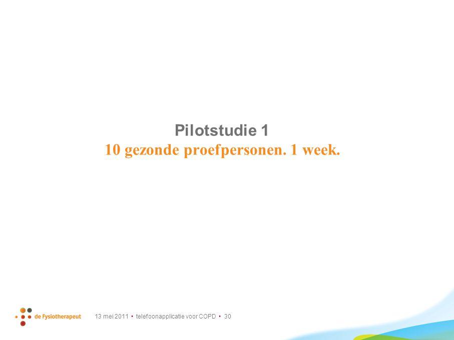Pilotstudie 1 10 gezonde proefpersonen. 1 week.