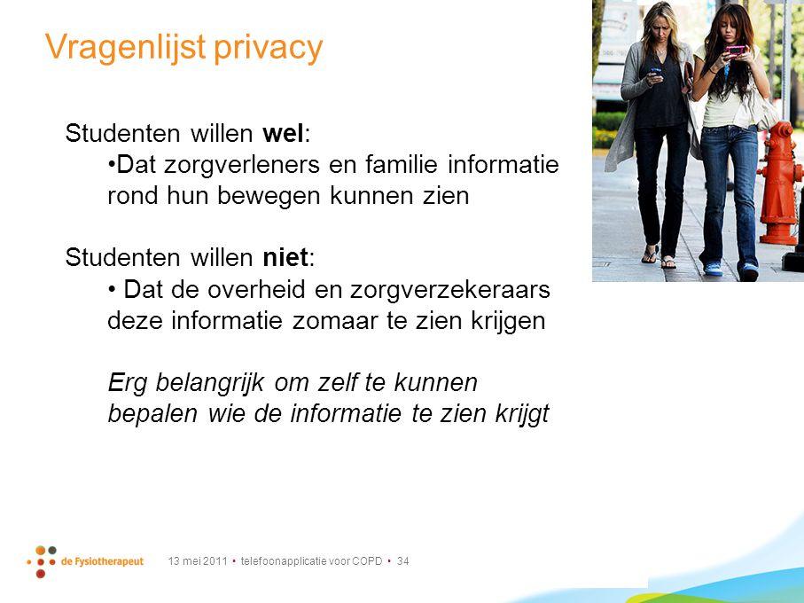 Vragenlijst privacy Studenten willen wel: