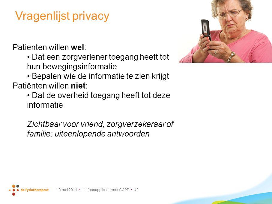 Vragenlijst privacy Patiënten willen wel: