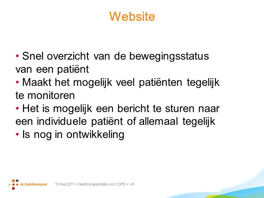 Website Snel overzicht van de bewegingsstatus van een patiënt